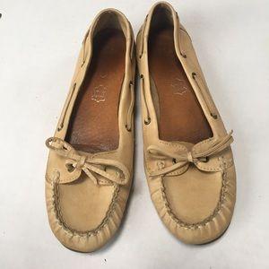 Aldo tan moccasin genuine leather slip ons loafers